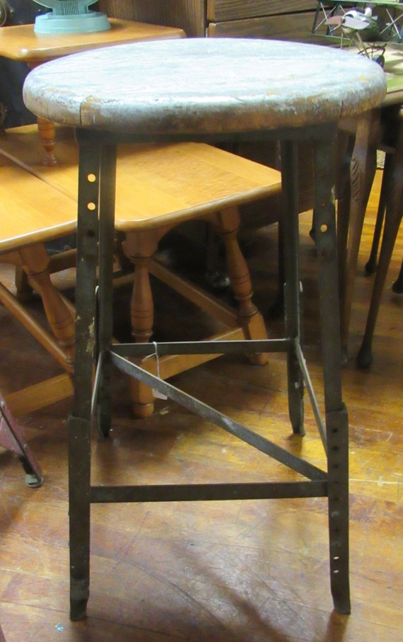 Industrial metal stool with wood seat