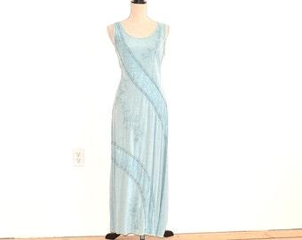 90s Embroidered Maxi Dress - Boho Hippie 90s Long Dress - Distress Dyed Dress - Beaded Embroidered Tie Back Sundress - Hippie Sun Dress