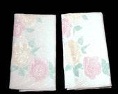 Pair of Linen Kitchen Towels Linen Hand Towels Kitchen Tea Towel Linen Dish Towels Pink Yellow Roses Floral Hand Towels Powder Room Decor