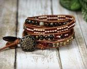 Bohemian Jewelry, 5X Leather Wrap Bracelet, Earthtone, Terracotta, Cream, Beige, Brown, Sunstar Bronze, Earthy, Neutral, Handmade in Canada