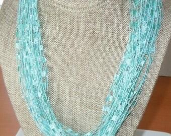 Trellis Scarf Necklace in Aquamarine with Silver Metallic  (SKU 112)
