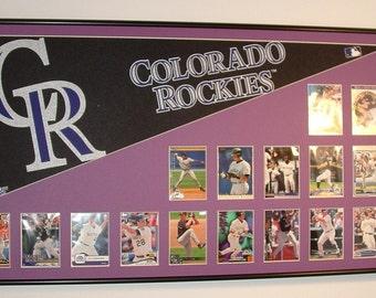 Colorado Rockies Baseball Pennant & Cards collage...Custom Framed!