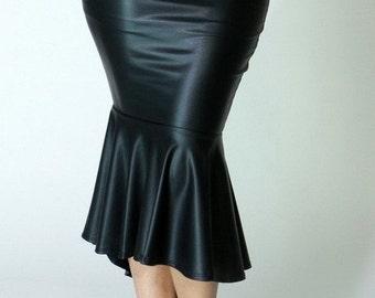 Vegan Faux Skirt,Leather Pencil Skirt,Black Vegan Leather Skirt,Faux Pencil Skirt,Faux Leather Skirt,Faux High Low Skirt,Vegan Pencil Skirt,