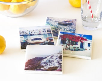 Greece coasters, travel photography coasters, photo coasters, gifts for mom birthday gift, handmade coasters gift for her, housewarming gift
