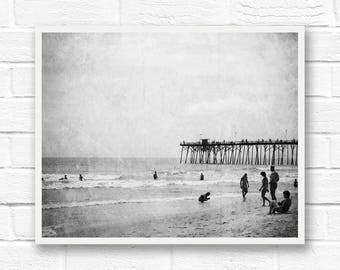 Printable photography, ocean print, digital download photography, vintage prints, black and white photos, black and white beach photography