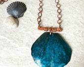Blue Patina Necklace, Handforged Textured Clam shell Pendant Rustic Copper Patina Jewelry Natural Patina Ocean Jewelry, Beach Verdigris
