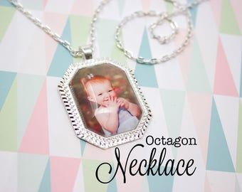 Custom Photo Necklace - Photo Jewelry - Octagon Photo Necklace - Personalized Photo Pendant - Picture Necklace - 22 x 30 mm Octagon