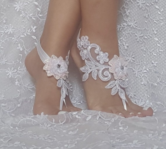 Free ship White wedding barefoot sandals  pink ivory flower wedding shoe barefoot wedding prom party  bangle beach anklets  bridal bride