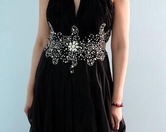 Long Black Modified Halter Neck Semi Backless Formal Prom Wedding Honeymoon Bridal Dress Evening Gown