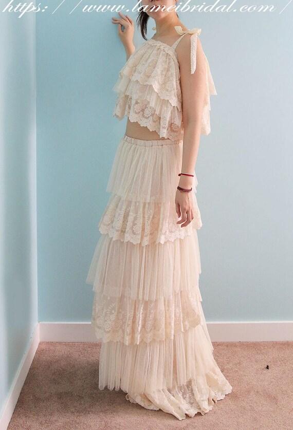 Cream Boho Wedding dress 2 Piece Bridal lace dress Floor