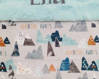 Adventure Awaits Minky Baby Blanket, Designer Minky Blanket, Personalized Minky Baby Blanket, Woodland Mountain