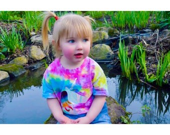 Girls Clothing Tie Dye Shirt Unicorn Top Gift For Kids Age 3-4 // Age 5-6 // Age 7-8 Years