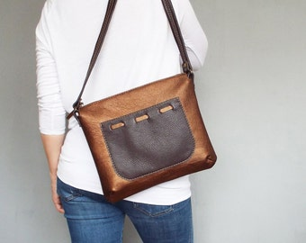 Copper leather bag. Copper leather shoulder purse. Small leather crossobdy bag.