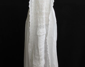 Antique Victorian Embroidered Whitework Princess Line Christening Gown Dress - c1870's
