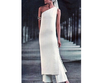 70s Vogue 2272 ONE SHOULDER EVENING GoWN with Side Slit and Pants Vogue Paris Original Christian Dior Size 16 Bust 38 Womens Sewing Patterns