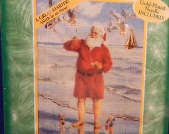 """SANTA on BEACH Bucilla Kwik Kringles NIP 5"""" x 7"""" Starter Stitch in an Hour Multi Lingual Instructions Included Mary's Neat Knits and Kits"""