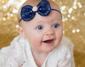 Navy Blue Headband, Navy Sequin Bow Headband, Navy Flower Girl Headband, Blue Hair Clip, Christmas Headband, Photo Prop, Blue Bow Headband