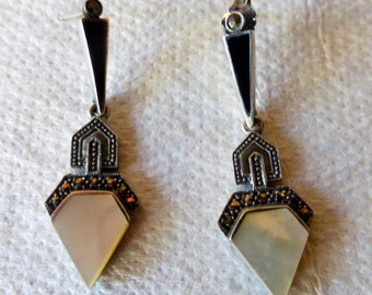 Vintage 1970s Marcasite And Sterling Silver With Onyx and Mother Of Pearl Drop Earrings