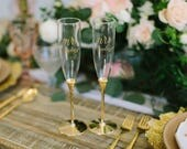 Personalized Kate Spade Simply Sparkling Gold Champagne Flutes - (Set of TWO) Custom Engraved Toasting Flute, Wedding Engagement Anniversary