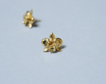 Petite Orchid Earrings- Flower Studs in Silver, Brass, or Bronze