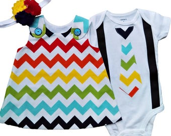 Boy Girl Twin Outfits Charlotte and Chevron Set