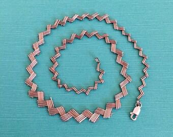 "Sterling Silver Concertina Design Necklace, 17.5"" Long"