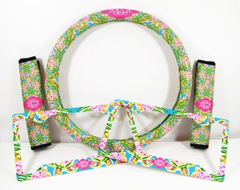 Custom Steering Wheel Cover Padded Insulated Car Accessories Seat Belt Covers License Plate Frames Lilly Pulitzer Inspired Swimming Turtles