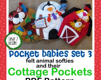 Pocket Babies Set 3 FELT SOFTIE PDF Pattern Animals and Cottages Instant Download