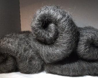 Llama Fiber Batt - Natural Black- Spinning, Needle and Nuno Felting- Blend of Llama 80/Merino 20