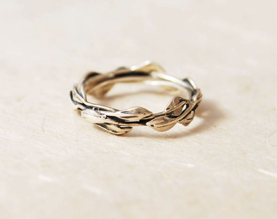 unique promise ring sterling silver leaves ring nature