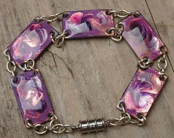 Vintage purple enamel panel bracelet