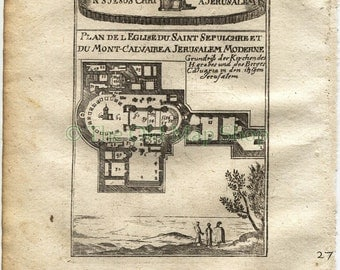 1719 Manesson Mallet Church of the Holy Sepulchre, Jerusalem, Israel, Plan, Antique Map published by Johann Adam Jung