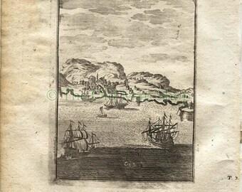 "1719 Manesson Mallet ""Canarie"" City View of Las Palmas de Gran Canaria, Antique Print"