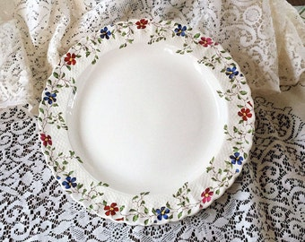 Free Shipping Copeland Spode England Wicker Dale Pattern Signed Serving China Platter Flowers Basketweave Scalloped Edge