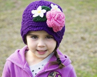 Crochet Panama hat - Easter hat -  clouche hat - flower hat - Little Girls Panama Hat -Toddler Panama Hat - Girls Cloche -Toddler Cloche