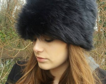 Tufty Black Faux Fur Russian Style Hat