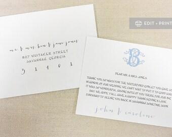 Custom Monogram Thank You Cards  { DOWNLOAD. EDIT. PRINT. }  Wedding Thank You Card  ||  Custom Watercolor Monogram