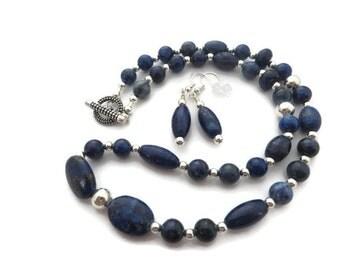 Lapis Lazuli Necklace, Navy Blue Necklace Set, Royal Blue Earring, Lapis Necklace, Blue Stone Necklace, Lapis Earring,  Blue Beaded Necklace