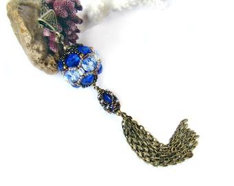 Beaded bead pendant Bead ball necklace Beadwoven jewelry Unique gift her Tassle Long boho chain tassel necklace Beadwork blue bronze pendant
