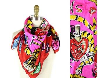 Vintage 1980s Escada Hot Pink Scarf / News of the Tiger Perfum Bottle Silk Scarf Designer