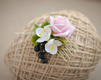Handmade floral hair comb, Roses haircomb, Jasmine and Rose, Pink rose hair accessories, Black currant berries, Hairstyle