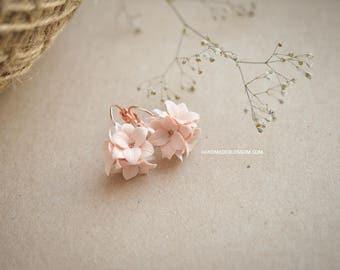 Peach lily earrings, Peach wedding jewelry, Bridal lily earrings, Salmon wedding accessories, Rose gold earrings