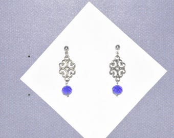 Earrings Stud Silver Filigree Blue Crystal Heart #B05a