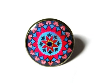 MANDALA RING - BOHO ring - Ornament ring - Antique brass ring - Statement ring - Gypsy Ring - Bohemian ring - New age - Chakra  Gift for her