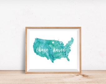 Long Distance Boyfriend Gift - Watercolor USA Love Art Map Print