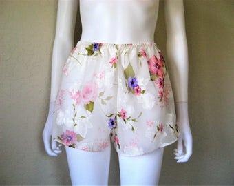 Sheer Floral rose print Tap Pants / 90s lingerie short