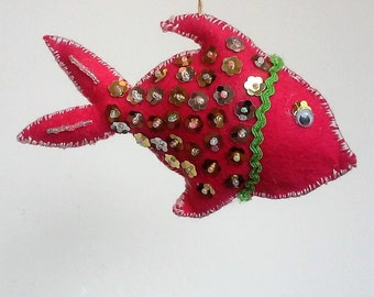 Pink sequined Eco felt hand made fish ornament.