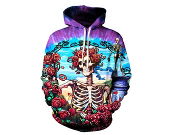 Grateful Dead Hoodie - Trippy Greatful Dead Bertha Hoody - 60's Festival Clothes - Hippie Art Hoody - Sublimation Clothes