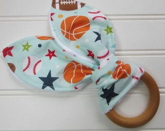Sport Balls Wooden Teether-Natural Teething Ring-Baby Gift-Organic Wooden Teether