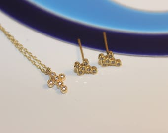 SET Teeny Tiny Rose Gold & Vermeil 'Marquis' Cross Earrings and Necklace